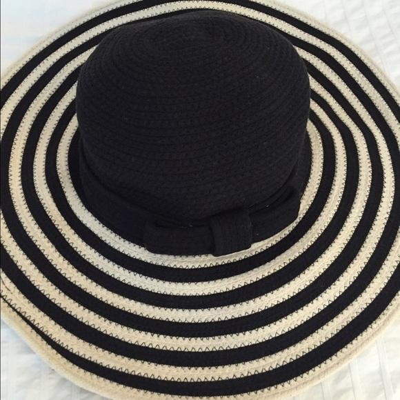 Black   White Striped Floppy Hat bbc9a9651bb