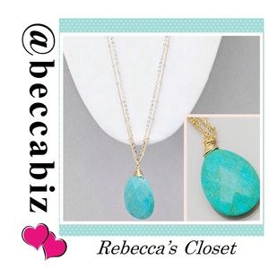 Turquoise pendant with double chain