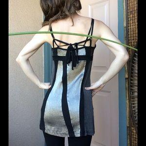 SALVAGE Dresses - Salvage Metalic Black Rib Knit Tie But Tunic Dress