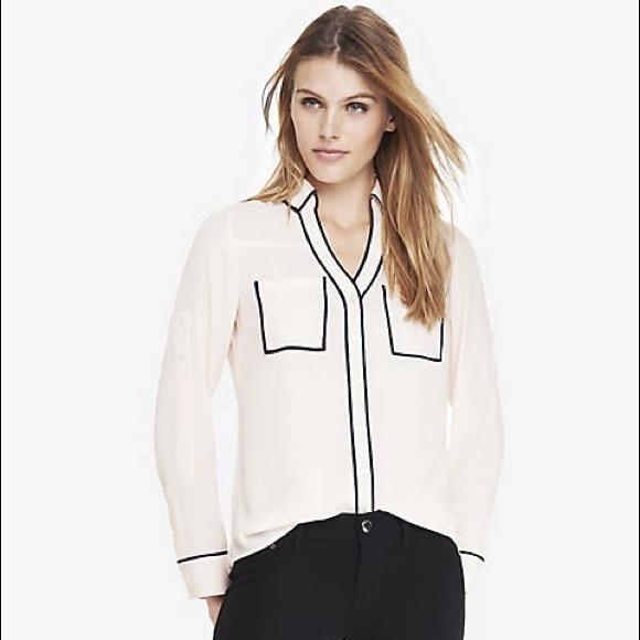 af43dceafca4d Express Tops - Original Fit Ivory Contrast Piping Portofino Shirt