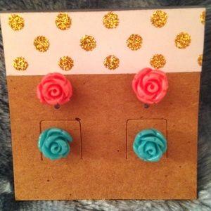Plump Petunia Jewelry - 2 Pair (Aqua & Coral) 8mm Resin Rose Stud Earrings