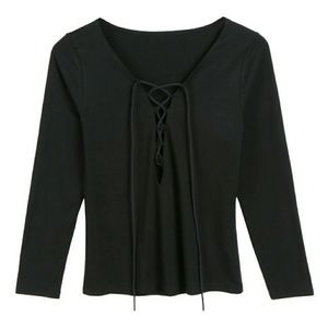 Tops - Black V-Neck Lace Up Long Sleeve Top