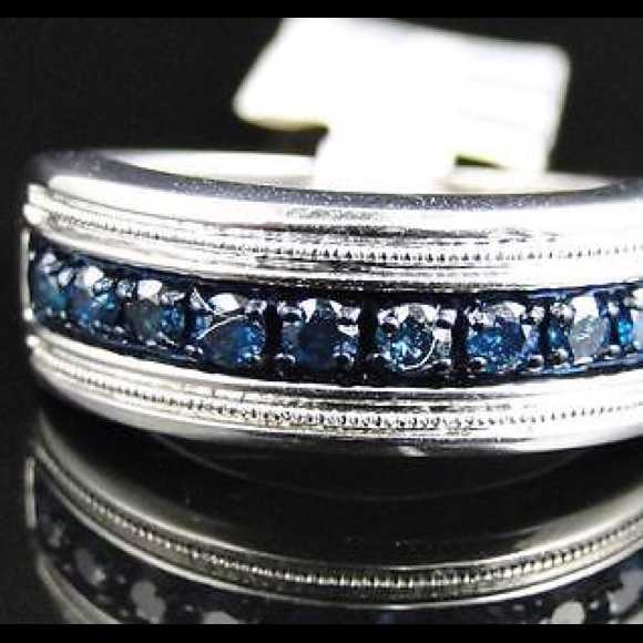 Mens Sterling Silver Blue Diamond Wedding Ring