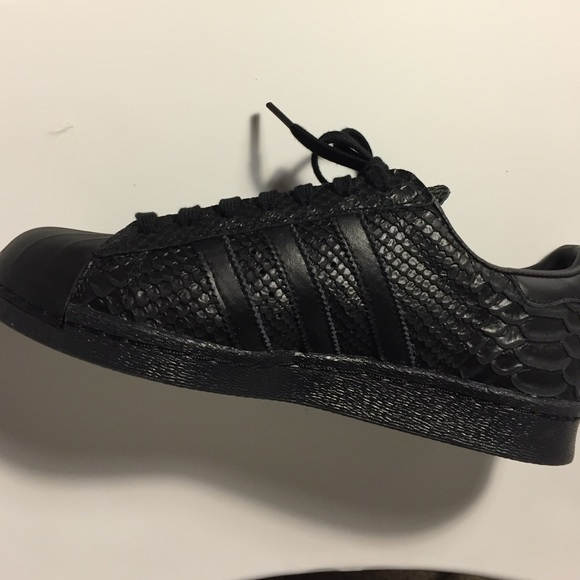 new concept 0394d f1ccd Adidas Shoes - Custom made black Adidas superstar sneakers