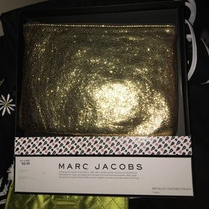 Marc Jacobs GOLD Leather pouch clutch bag NWT