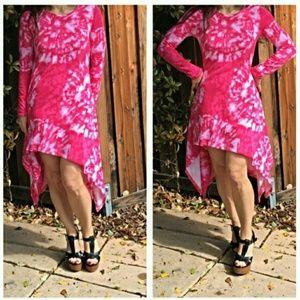 Classic Woman Dresses & Skirts - Sale! Assymetrical Tie-Dye Pink Dress