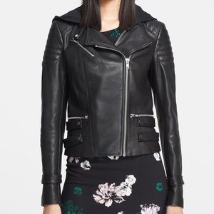 A.L.C. Hooded Black Leather Biker Jacket 12 NWT