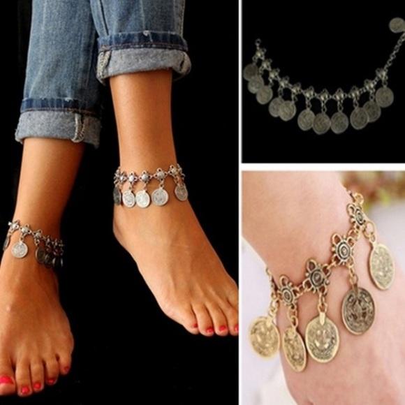 Jewelry - Bohemian Moon Lovers Tassel Coin Anklet/Bracelet