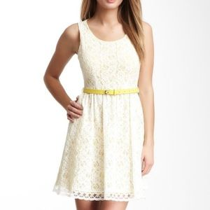 Romeo and Juliet Couture Belted Lace Dress - White