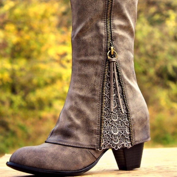Gray Sassy Lace Riding Boots- Wide Calf 9 from Cassidy's closet on ...
