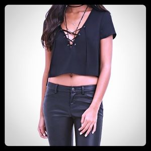 Black Lace Up Crop Top