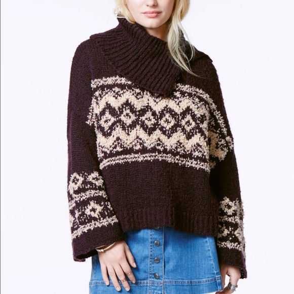 76% off Free People Sweaters - Free people fair isle split neck ...