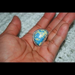 handmade & handcrafted gemstone jewelry Jewelry - Modaic Howlite Blue & Yellow Statement Ring 7 1/2