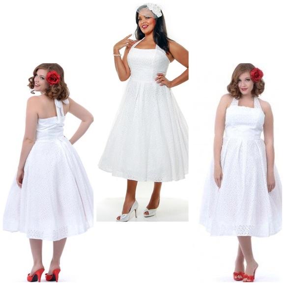 Plus Size Off White Cotton Halter Swing Dress NWT