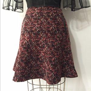 Classic wool tweed fit & flair skirt