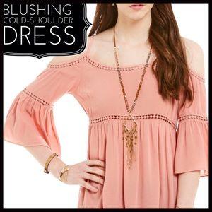 Blushing Cold-Shoulder Dress