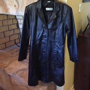 Black knee length all real leather coat sz L