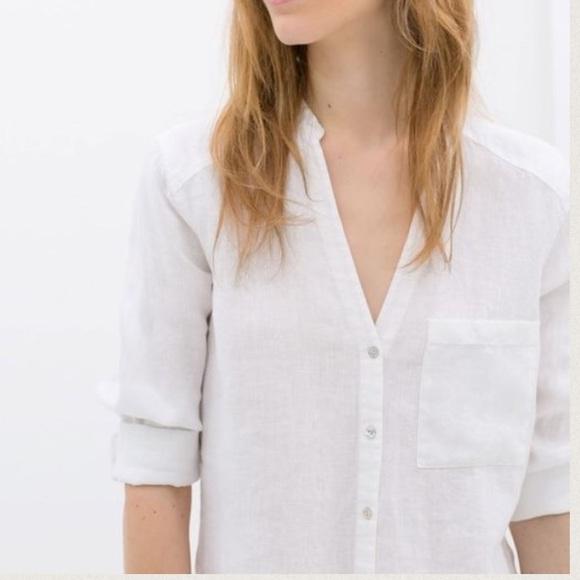 4aa17edb67249 Zara Basic White Linen Button Down Shirt