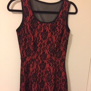 Red and black lace texture dress