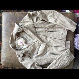 Other - Girls size large leather looking tan jacket nwot
