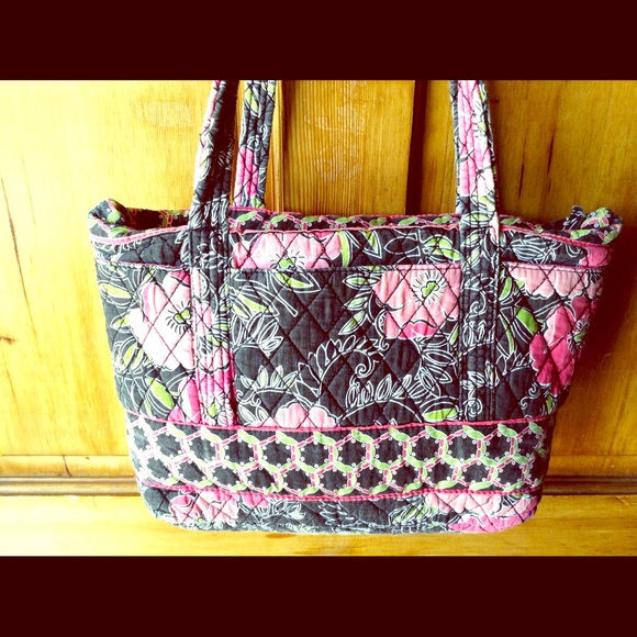 Quilted Handbag floral purse tote black pink