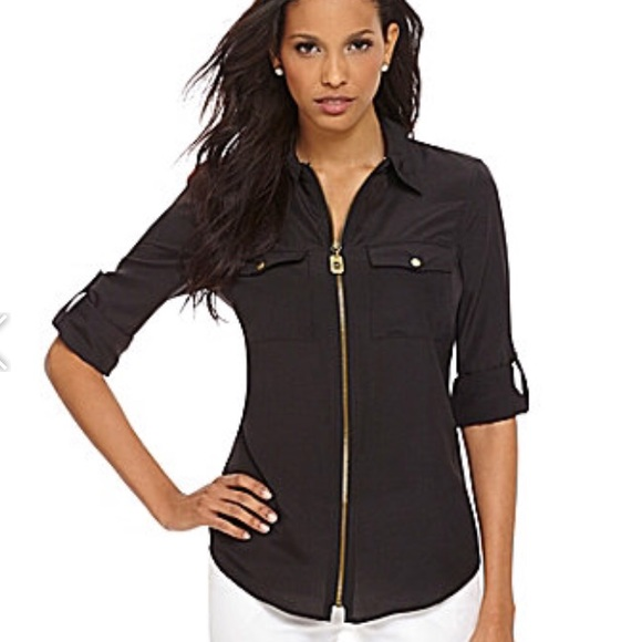 9753aada14ba2 Michael Kors Tops | Black Zip Up Collard Shirt | Poshmark