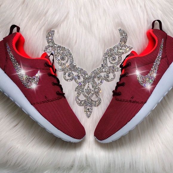 sports shoes b3fd3 f0d4a LAST PAIR! Swarovski Nike Roshe Shoes In Burgundy Boutique