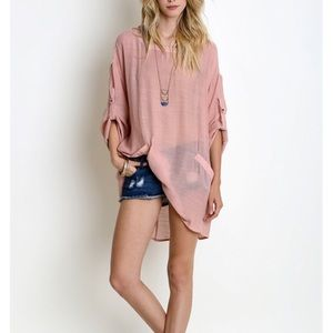 """Wild Roses"" Tabbed Sleeve Linen Top"