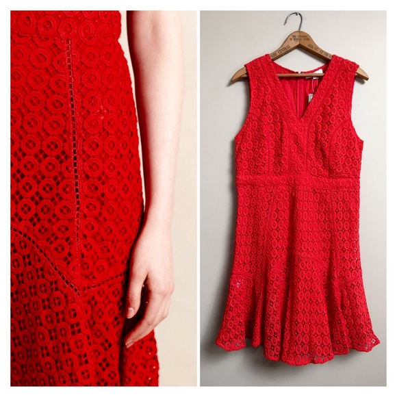 Flounced lace dress anthropologie free