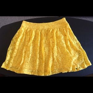 Forever 21 Dresses & Skirts - Lace Yellow Skater Skirt
