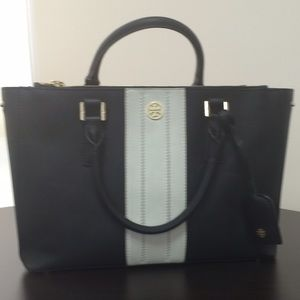 Tory Burch Robjnson Tote Striped East West Tote