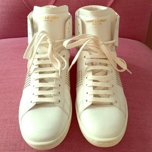 Saint Laurent white high top sneaker 37