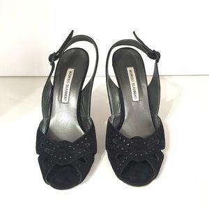 Manolo Blahnik black suede peep toe heels