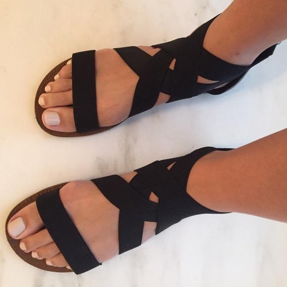 a575940b9121 Hokus Pokus Shoes - Hokus Pokus DSW Black Elastic Gladiator Sandals