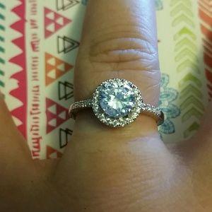 Jewelry - 2 ct Round Halo Lab Created Diamond Ring NWT