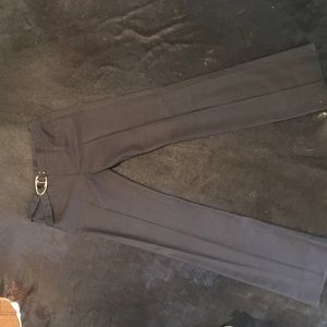 Gucci black pinstripe pants with gold belt detail