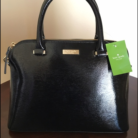 23a0cfdb3b Black Shiny Leather Kate Spade Purse