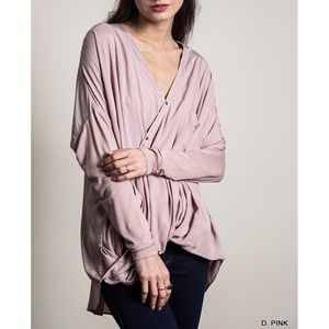 """Epithalamia"" Diagonal Button Long Sleeve Blouse"