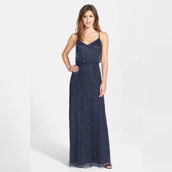 Nordstrom Dresses Navy Blue Beaded Long Dress Poshmark