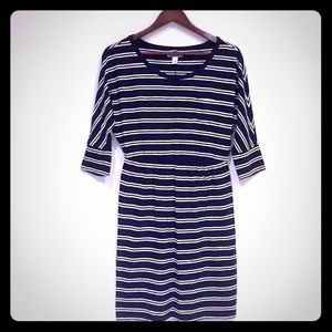 Navy/White Striped Maternity Top