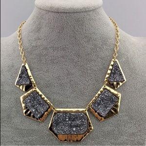 SALE Metallic druzy Rock necklace