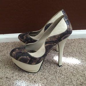  Snake print platform heels 