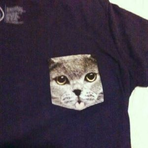 Get Wild Kitty Pocket Fitted T-shirt