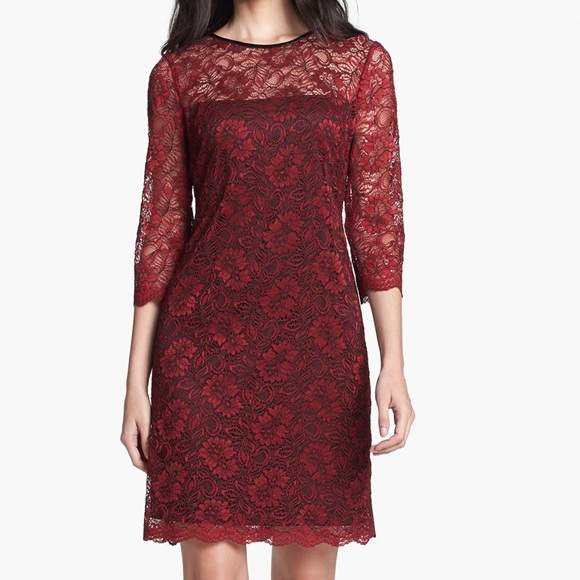 ad3b630bea Calvin Klein Red   Black Floral Lace Dress