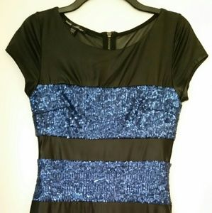 bebe sexy black with blue sequined stripes dress