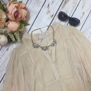 LF Cream Cotton Button Down Blouse
