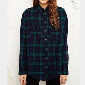 Urban Outfitters Blue Green Flannel Button Up Top
