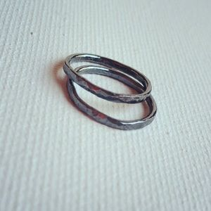 Hammered Oxidized Sterling Silver Midi Ring