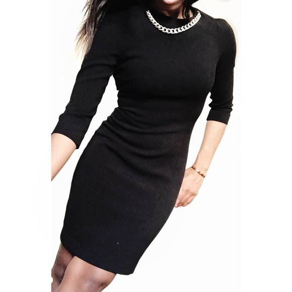 Hm Dresses Black Hm Fitted Sheath Dress W Gold Chain Collar