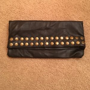 NWOT Steve Madden black with gold studs clutch